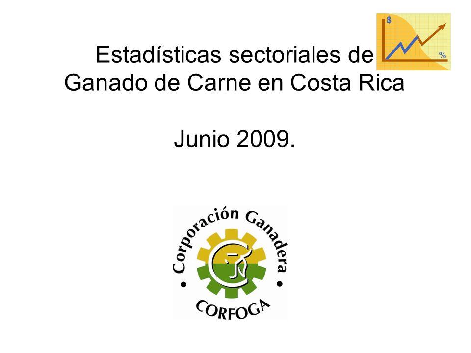 Estadísticas sectoriales de Ganado de Carne en Costa Rica Junio 2009.