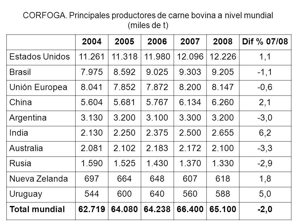 CORFOGA. Principales productores de carne bovina a nivel mundial (miles de t) 20042005200620072008Dif % 07/08 Estados Unidos11.26111.31811.98012.09612