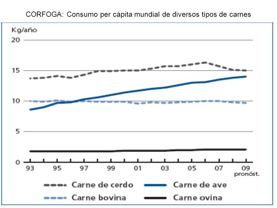CORFOGA: Consumo per cápita mundial de diversos tipos de carnes