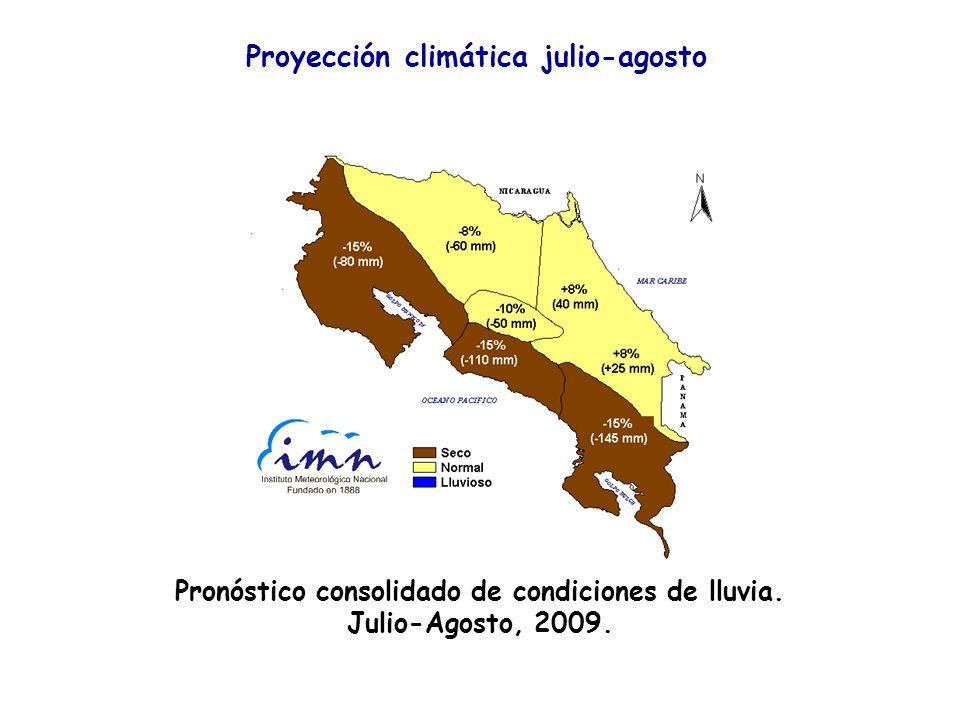 67 Proyección climática julio-agosto Pronóstico consolidado de condiciones de lluvia. Julio-Agosto, 2009.