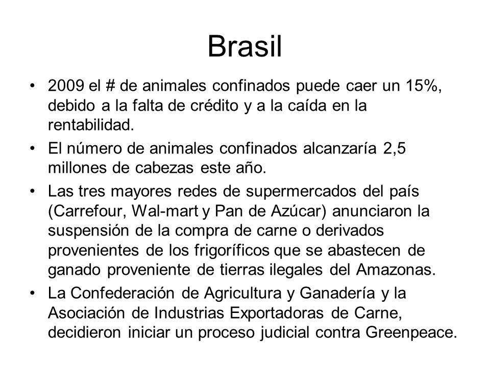 Brasil 2009 el # de animales confinados puede caer un 15%, debido a la falta de crédito y a la caída en la rentabilidad. El número de animales confina