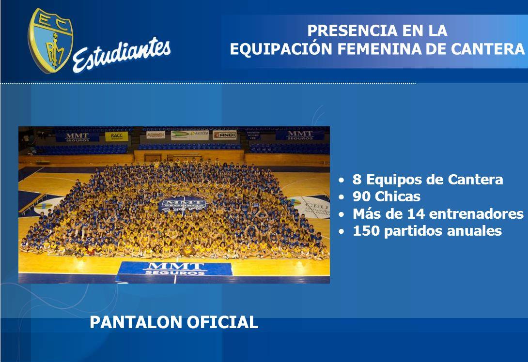 PRESENCIA EN LA EQUIPACIÓN FEMENINA DE CANTERA PANTALON OFICIAL 8 Equipos de Cantera 90 Chicas Más de 14 entrenadores 150 partidos anuales