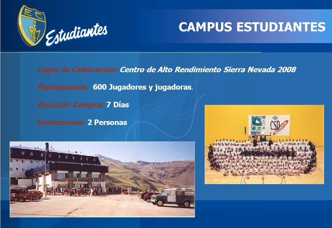 CAMPUS ESTUDIANTES Lugar de Celebración: Centro de Alto Rendimiento Sierra Nevada 2008 Participantes: 600 Jugadores y jugadoras. Duración Campus: 7 Dí