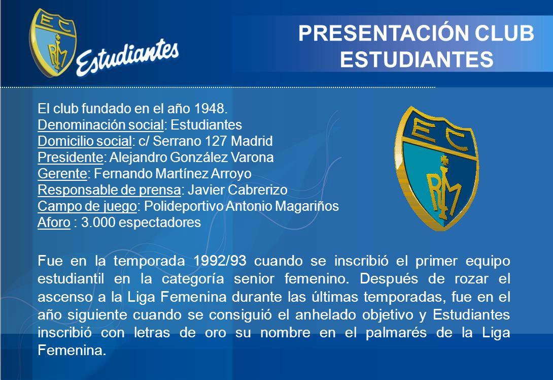 PRESENTACIÓN CLUB ESTUDIANTES El club fundado en el año 1948. Denominación social: Estudiantes Domicilio social: c/ Serrano 127 Madrid Presidente: Ale
