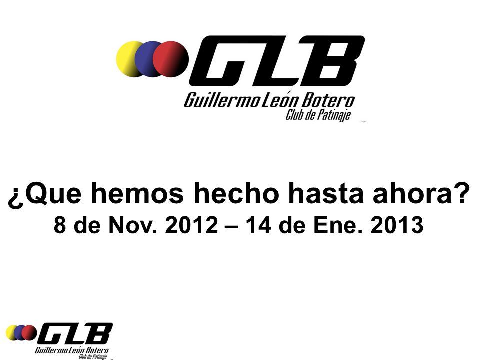 ¿Que hemos hecho hasta ahora 8 de Nov. 2012 – 14 de Ene. 2013
