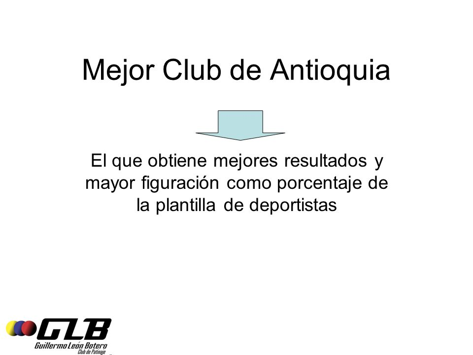 Mejor Club de Antioquia El que obtiene mejores resultados y mayor figuración como porcentaje de la plantilla de deportistas