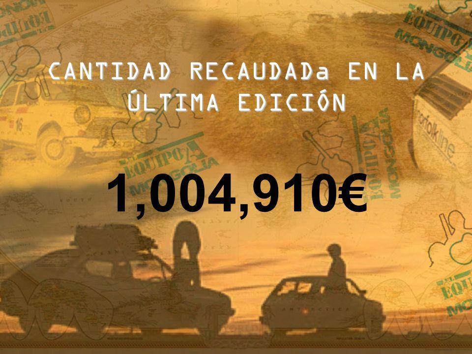 CANTIDAD RECAUDADa EN LA ÚLTIMA EDICIÓN 1,004,910