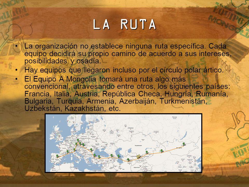 LA RUTA La organización no establece ninguna ruta específica. Cada equipo decidirá su propio camino de acuerdo a sus intereses, posibilidades y osadía