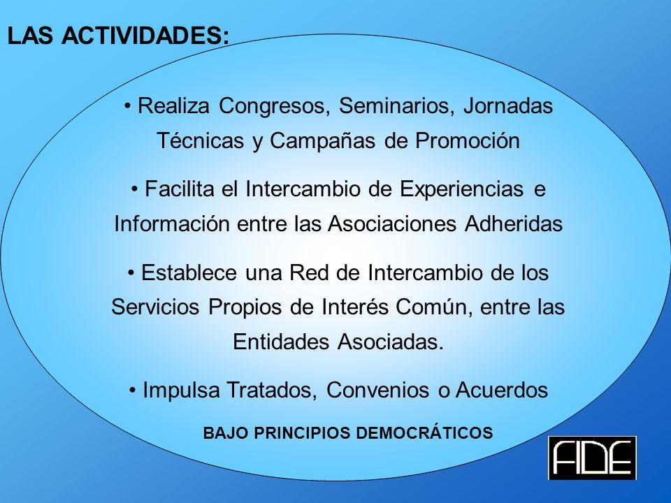 LAS ACTIVIDADES: Realiza Congresos, Seminarios, Jornadas Técnicas y Campañas de Promoción Facilita el Intercambio de Experiencias e Información entre las Asociaciones Adheridas Establece una Red de Intercambio de los Servicios Propios de Interés Común, entre las Entidades Asociadas.