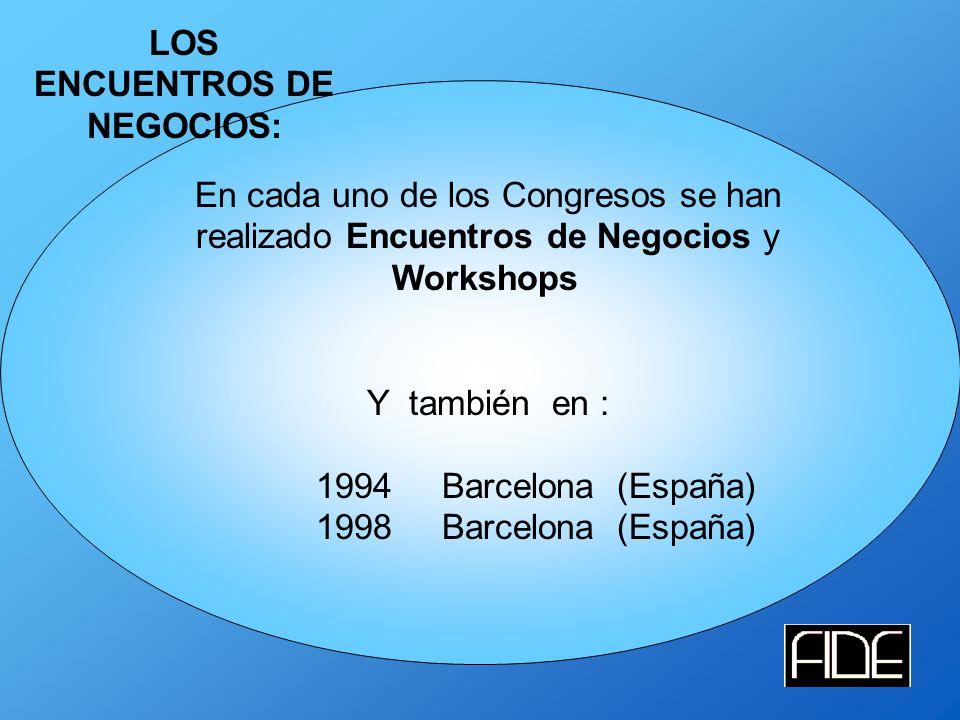 LOS ENCUENTROS DE NEGOCIOS: En cada uno de los Congresos se han realizado Encuentros de Negocios y Workshops Y también en : 1994 Barcelona (España) 1998 Barcelona (España)