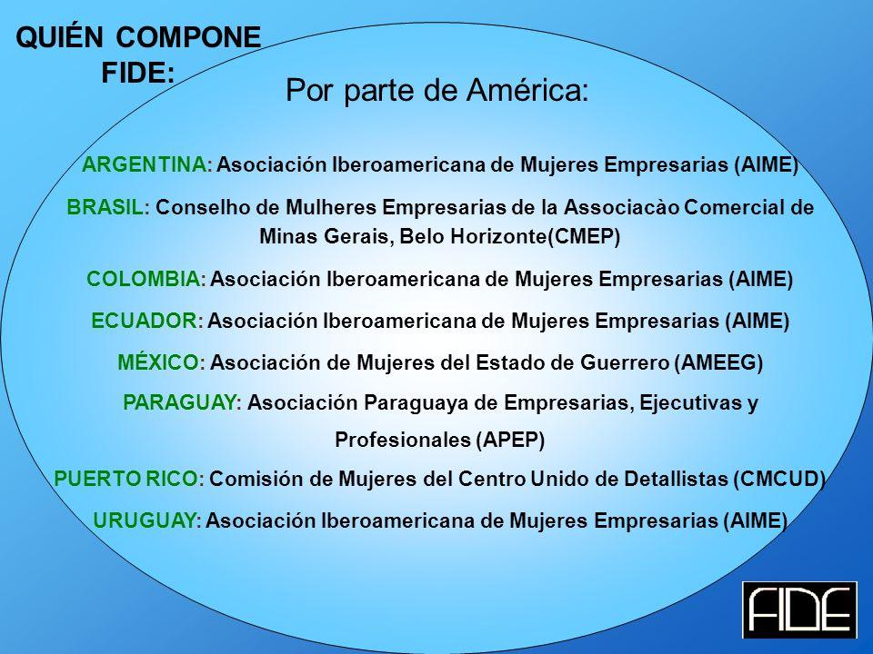 QUIÉN COMPONE FIDE: ARGENTINA: Asociación Iberoamericana de Mujeres Empresarias (AIME) BRASIL: Conselho de Mulheres Empresarias de la Associacào Comercial de Minas Gerais, Belo Horizonte(CMEP) COLOMBIA: Asociación Iberoamericana de Mujeres Empresarias (AIME) ECUADOR: Asociación Iberoamericana de Mujeres Empresarias (AIME) MÉXICO: Asociación de Mujeres del Estado de Guerrero (AMEEG) PARAGUAY: Asociación Paraguaya de Empresarias, Ejecutivas y Profesionales (APEP) PUERTO RICO: Comisión de Mujeres del Centro Unido de Detallistas (CMCUD) URUGUAY: Asociación Iberoamericana de Mujeres Empresarias (AIME) Por parte de América: