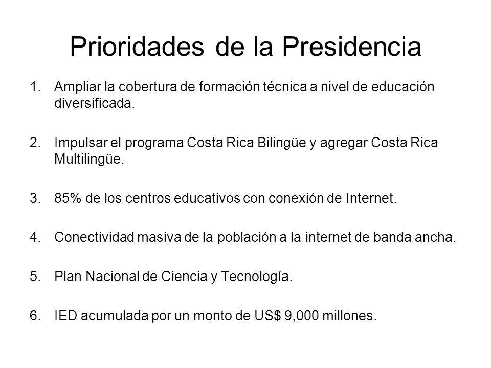 Prioridades de la Presidencia 1.Ampliar la cobertura de formación técnica a nivel de educación diversificada.