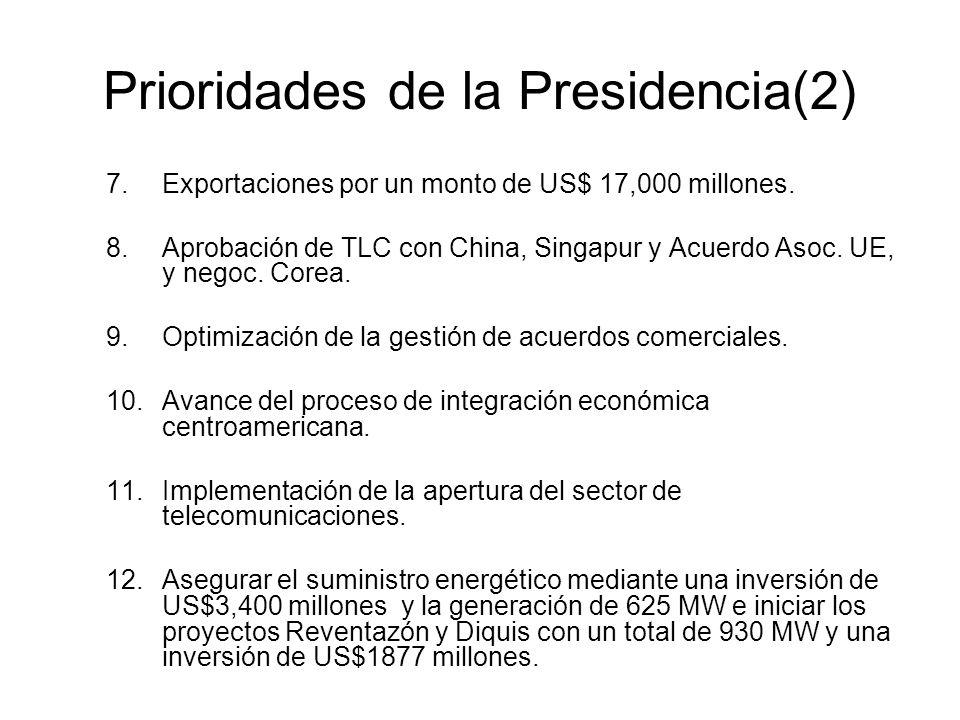 Prioridades de la Presidencia(2) 7.Exportaciones por un monto de US$ 17,000 millones.