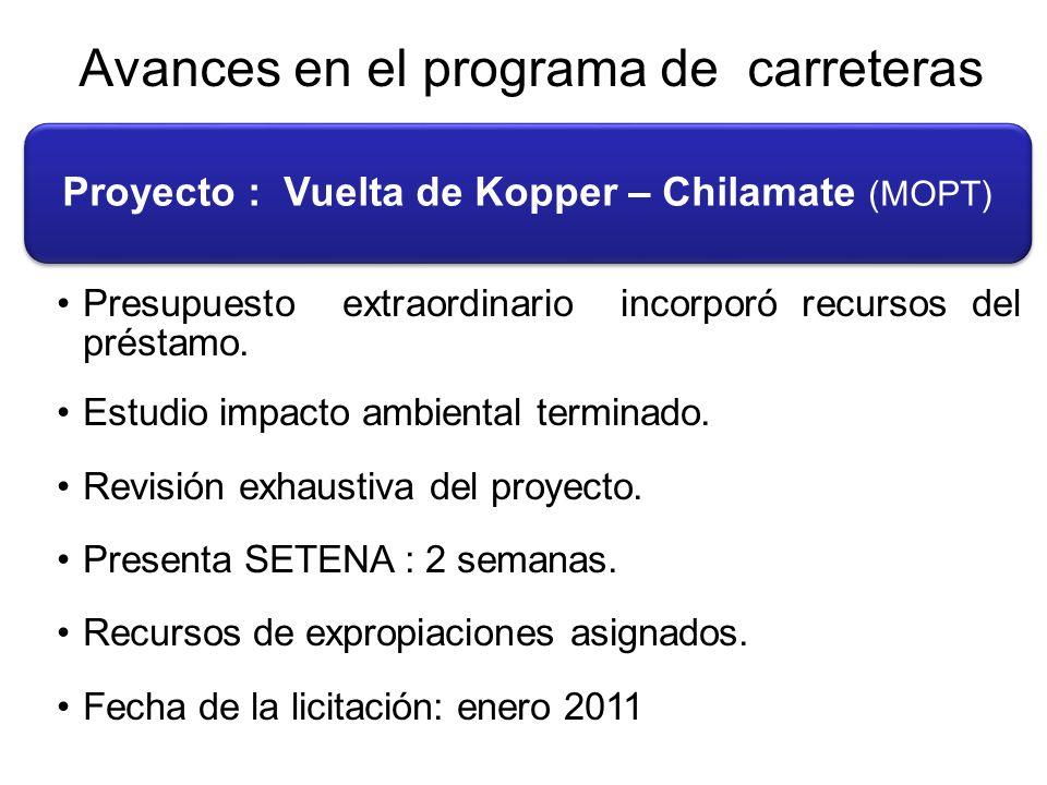 Avances en el programa de carreteras Proyecto : Vuelta de Kopper – Chilamate (MOPT) Presupuesto extraordinario incorporó recursos del préstamo.
