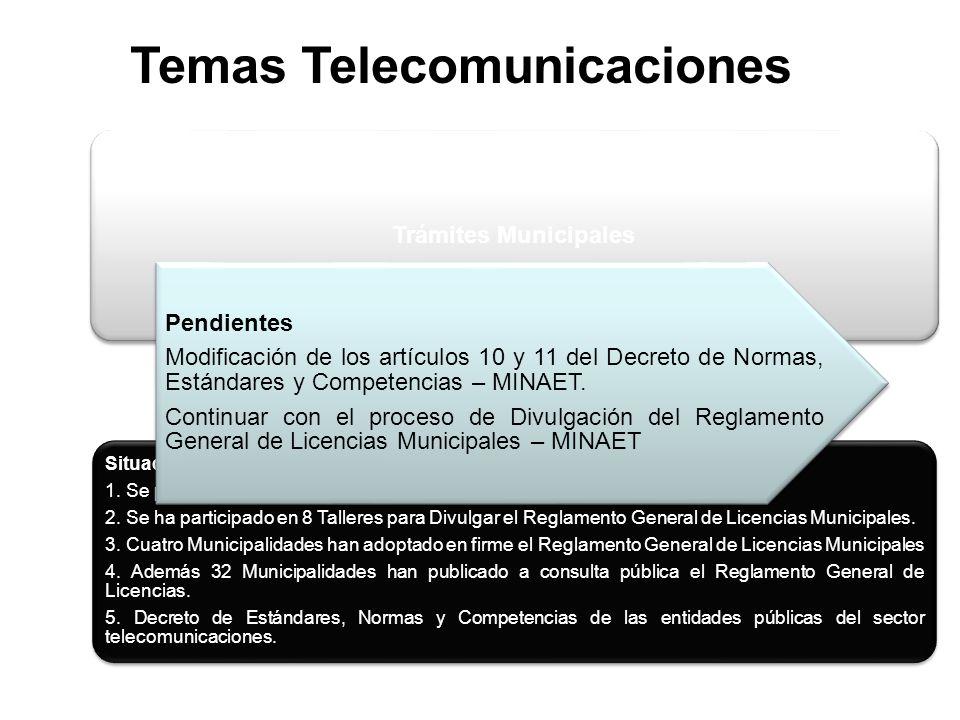 Temas Telecomunicaciones Trámites Municipales Situación 1.