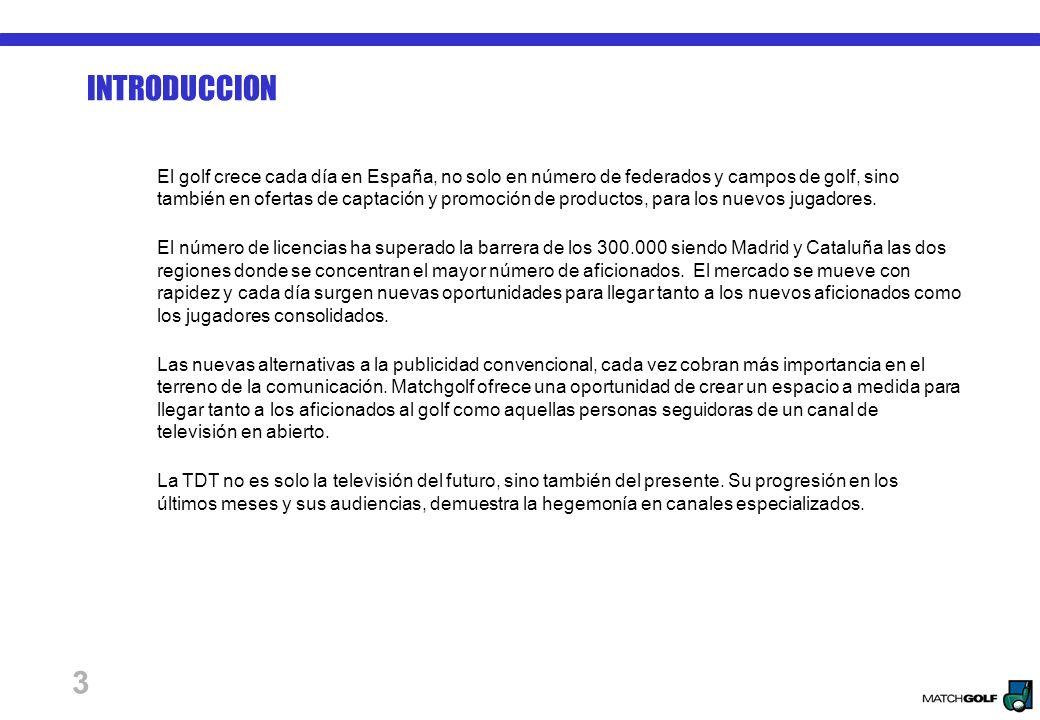 3 INTRODUCCION El golf crece cada día en España, no solo en número de federados y campos de golf, sino también en ofertas de captación y promoción de productos, para los nuevos jugadores.