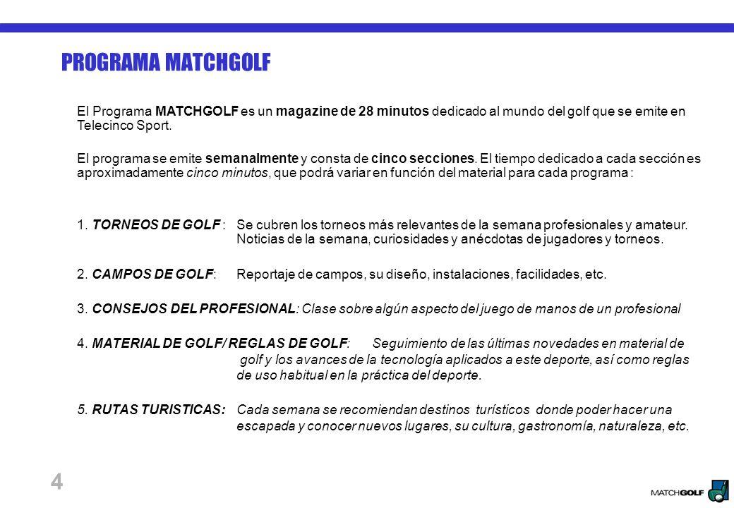 4 PROGRAMA MATCHGOLF El Programa MATCHGOLF es un magazine de 28 minutos dedicado al mundo del golf que se emite en Telecinco Sport.