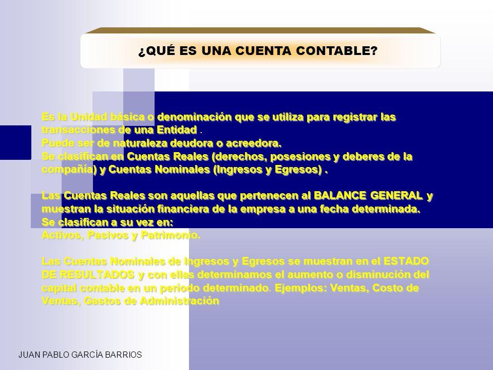 JUAN PABLO GARCÍA BARRIOS DOCENTE CLASIFICACIÓN DE LAS CUENTAS REALES O DE BALANCE Son los bienes, derechos y valores que tiene la empresa ya sea a corto o largo plazo.