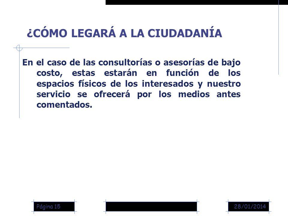 28/01/2014Página 15 En el caso de las consultorías o asesorías de bajo costo, estas estarán en función de los espacios físicos de los interesados y nuestro servicio se ofrecerá por los medios antes comentados.