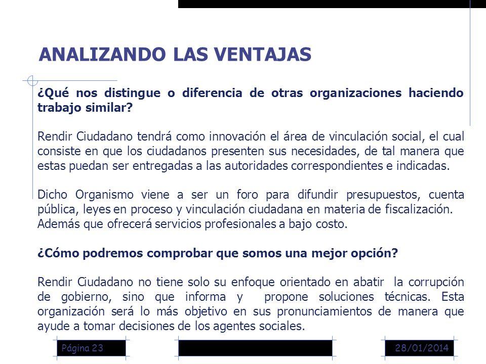 28/01/2014Página 23 ANALIZANDO LAS VENTAJAS ¿Qué nos distingue o diferencia de otras organizaciones haciendo trabajo similar.