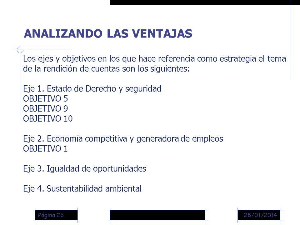 28/01/2014Página 26 ANALIZANDO LAS VENTAJAS Los ejes y objetivos en los que hace referencia como estrategia el tema de la rendición de cuentas son los siguientes: Eje 1.