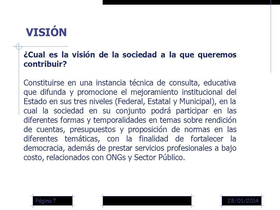 28/01/2014Página 7 ¿Cual es la visión de la sociedad a la que queremos contribuir.