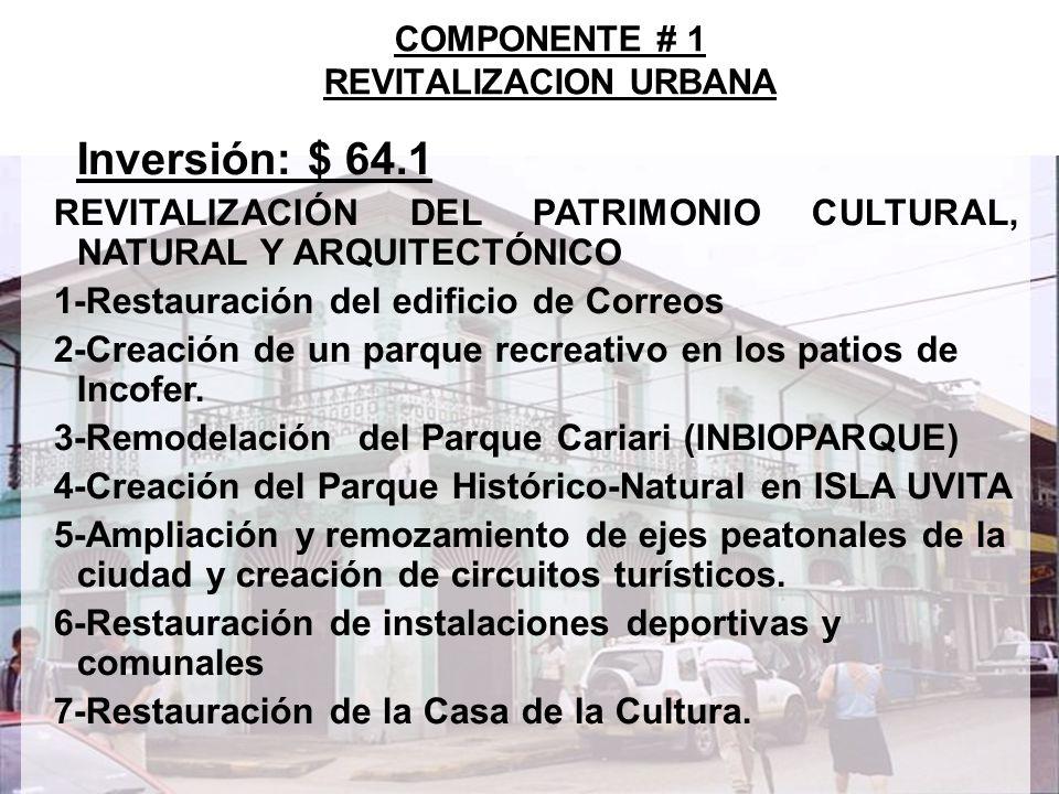 9 Inversión: $ 64.1 COMPONENTE # 1 REVITALIZACION URBANA SERVICIOS BÁSICOS: SANEAMIENTO Y DRENAJE 1-Control de inundaciones cuenca del río Limoncito 2-Alcantarillado sanitario en barrios Limoncito y Envaco 3-Alcantarillado para la descontaminación de la playa Los Baños