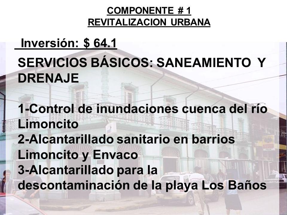 9 Inversión: $ 64.1 COMPONENTE # 1 REVITALIZACION URBANA SERVICIOS BÁSICOS: SANEAMIENTO Y DRENAJE 1-Control de inundaciones cuenca del río Limoncito 2