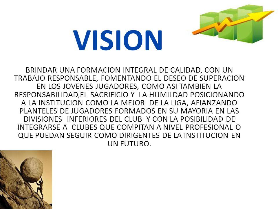 VISION BRINDAR UNA FORMACION INTEGRAL DE CALIDAD, CON UN TRABAJO RESPONSABLE, FOMENTANDO EL DESEO DE SUPERACION EN LOS JOVENES JUGADORES, COMO ASI TAM