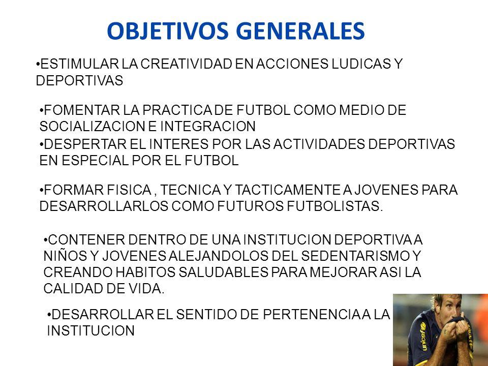 OBJETIVOS GENERALES ESTIMULAR LA CREATIVIDAD EN ACCIONES LUDICAS Y DEPORTIVAS FOMENTAR LA PRACTICA DE FUTBOL COMO MEDIO DE SOCIALIZACION E INTEGRACION
