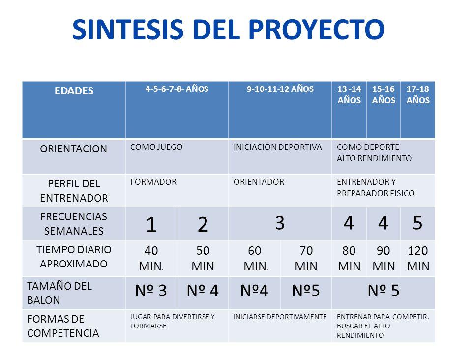 SINTESIS DEL PROYECTO EDADES 4-5-6-7-8- AÑOS9-10-11-12 AÑOS13 -14 AÑOS 15-16 AÑOS 17-18 AÑOS ORIENTACION COMO JUEGOINICIACION DEPORTIVACOMO DEPORTE AL