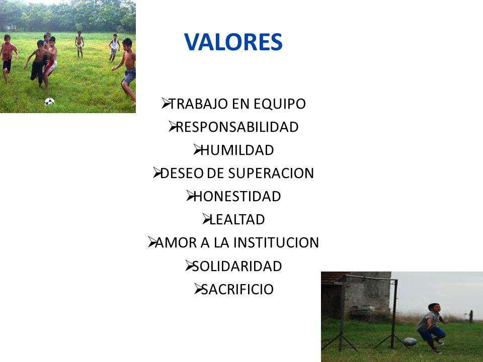 VALORES TRABAJO EN EQUIPO RESPONSABILIDAD HUMILDAD DESEO DE SUPERACION HONESTIDAD LEALTAD AMOR A LA INSTITUCION SOLIDARIDAD SACRIFICIO