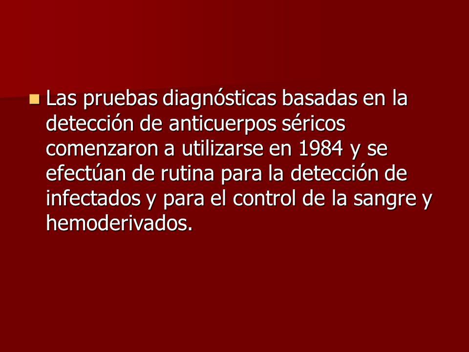 Las pruebas diagnósticas basadas en la detección de anticuerpos séricos comenzaron a utilizarse en 1984 y se efectúan de rutina para la detección de i