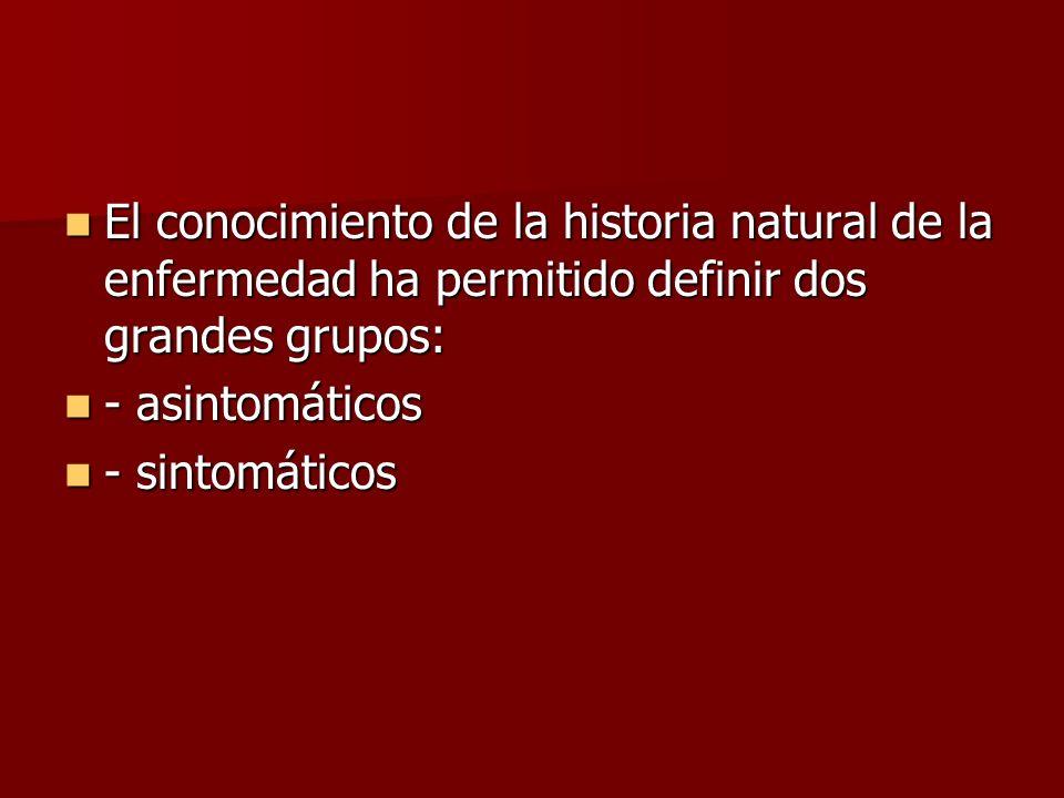 El conocimiento de la historia natural de la enfermedad ha permitido definir dos grandes grupos: El conocimiento de la historia natural de la enfermed