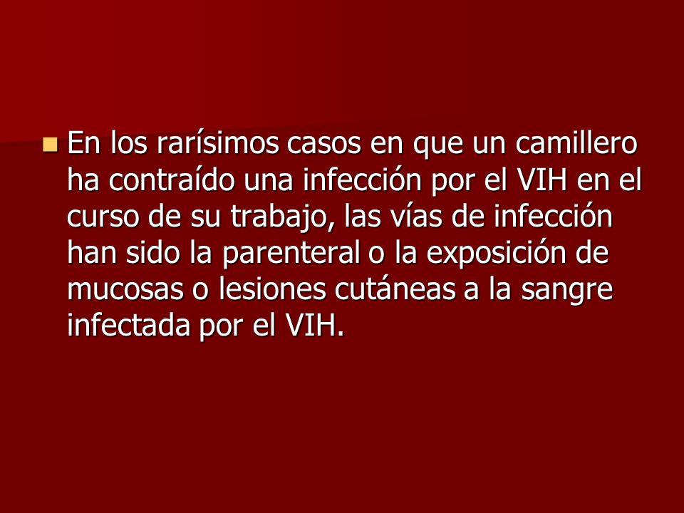 En los rarísimos casos en que un camillero ha contraído una infección por el VIH en el curso de su trabajo, las vías de infección han sido la parenter