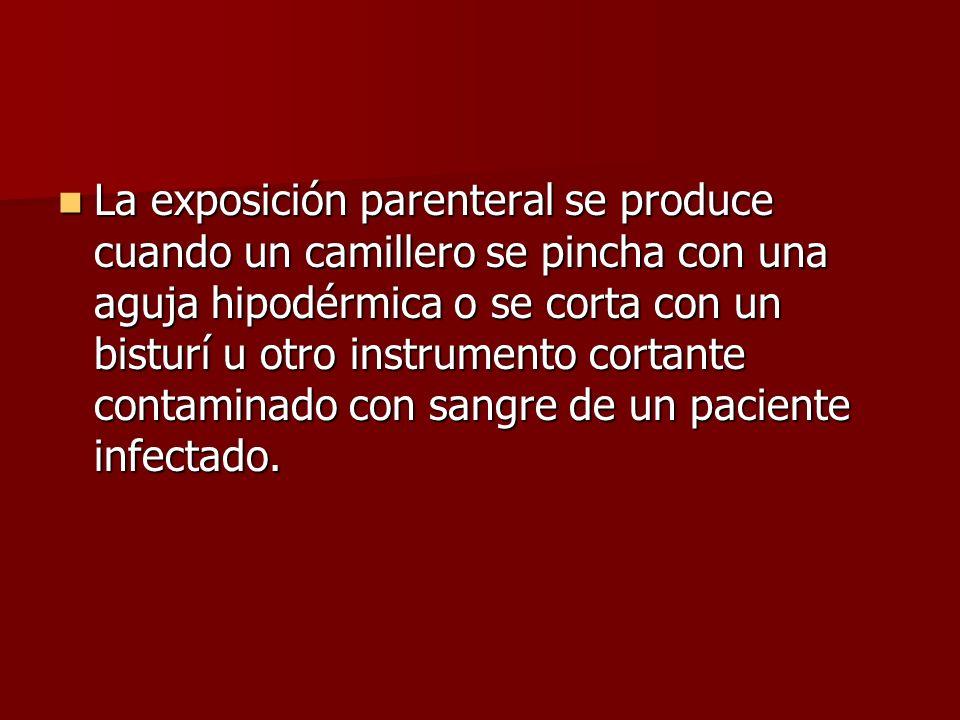 La exposición parenteral se produce cuando un camillero se pincha con una aguja hipodérmica o se corta con un bisturí u otro instrumento cortante cont