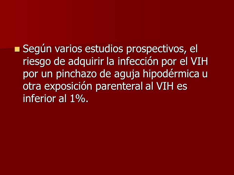 Según varios estudios prospectivos, el riesgo de adquirir la infección por el VIH por un pinchazo de aguja hipodérmica u otra exposición parenteral al