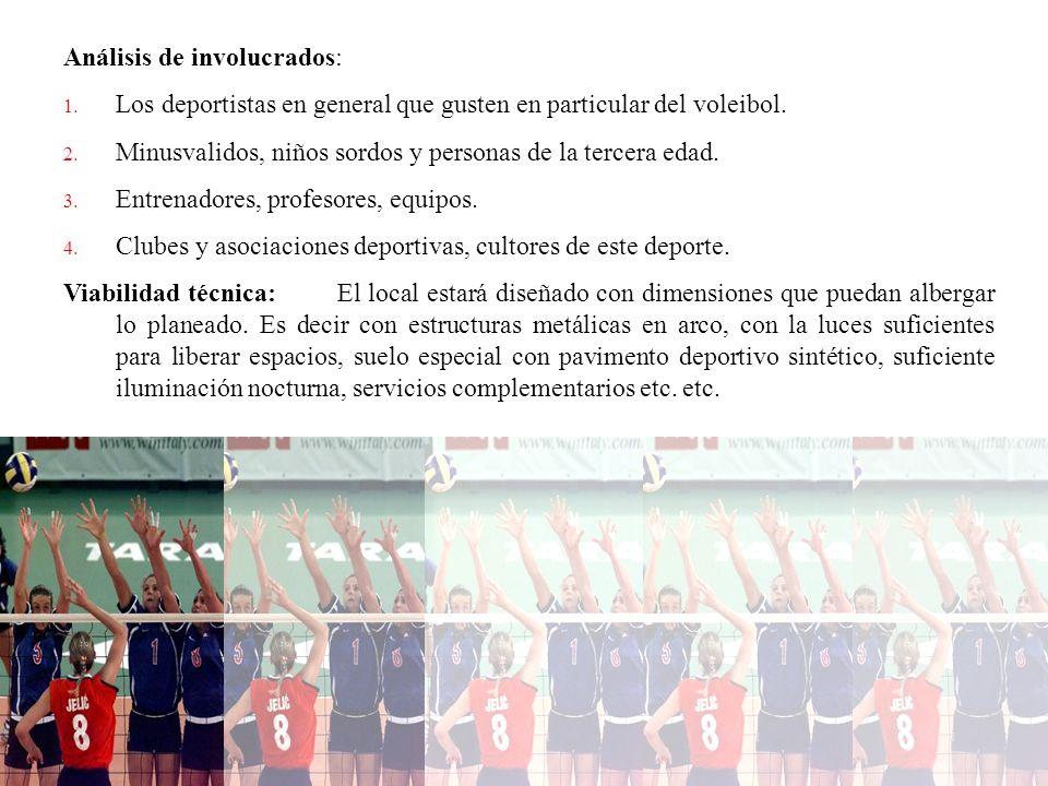 Análisis de involucrados: 1. Los deportistas en general que gusten en particular del voleibol. 2. Minusvalidos, niños sordos y personas de la tercera