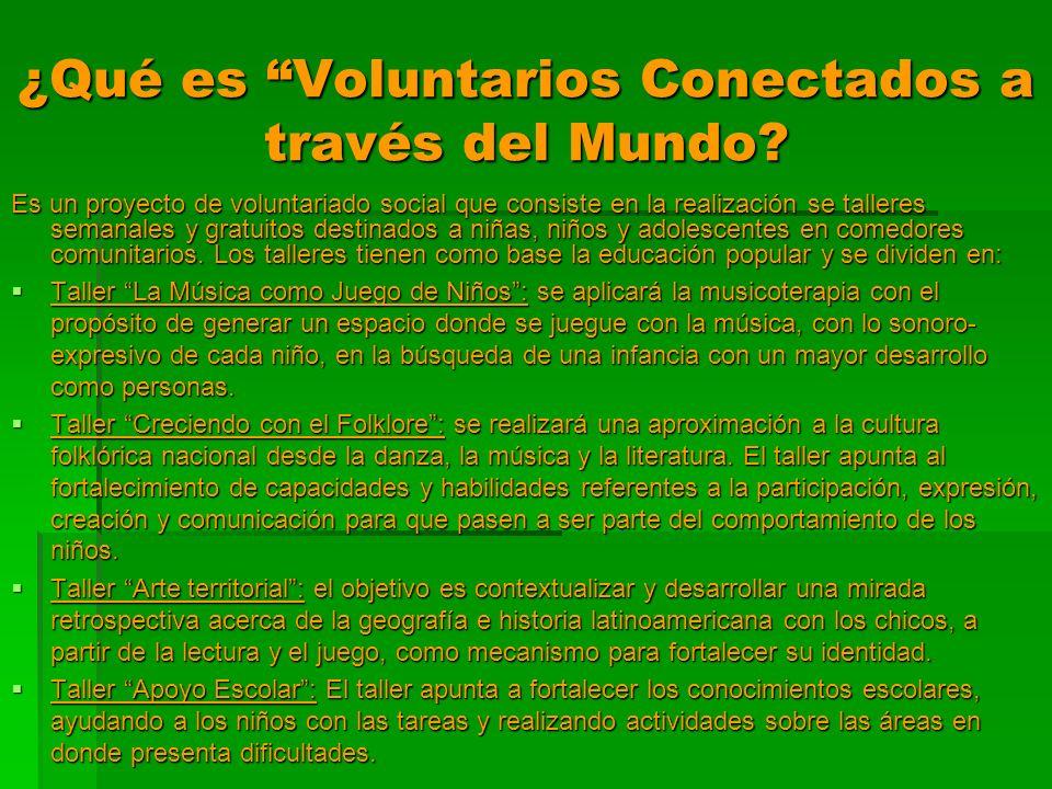 ¿Qué es Voluntarios Conectados a través del Mundo? Es un proyecto de voluntariado social que consiste en la realización se talleres semanales y gratui