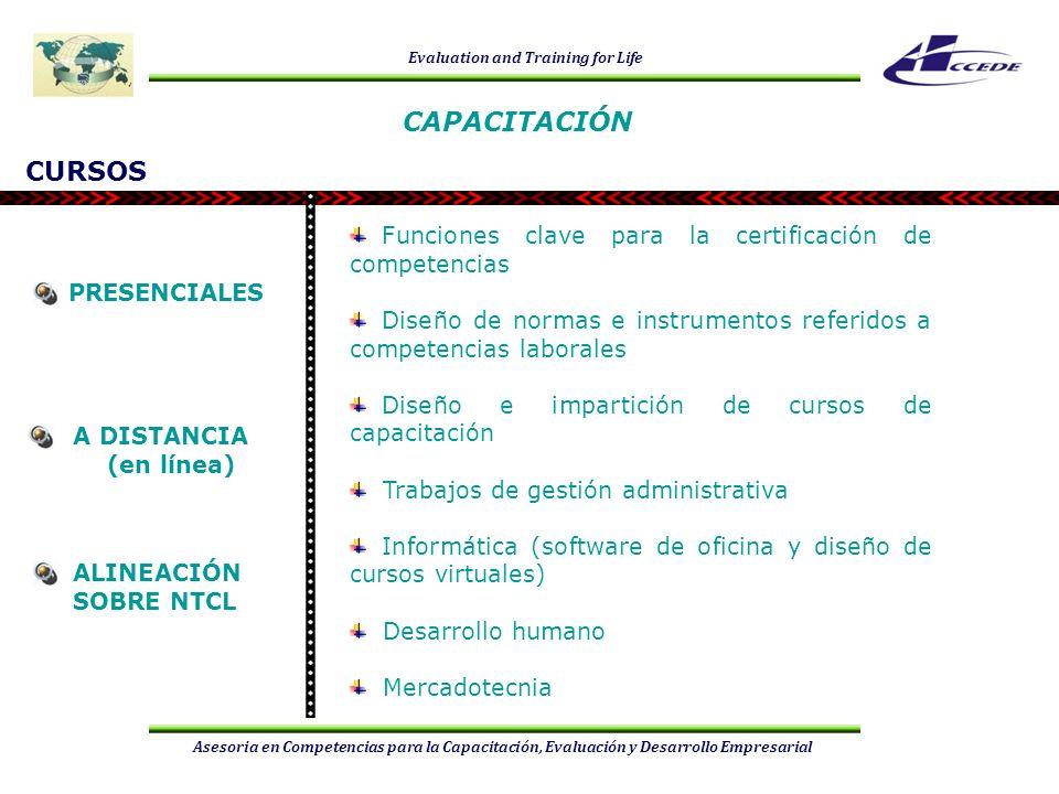 Evaluation and Training for Life Asesoria en Competencias para la Capacitación, Evaluación y Desarrollo Empresarial CURSOS Funciones clave para la cer