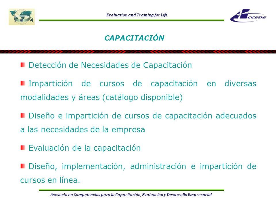 Evaluation and Training for Life Asesoria en Competencias para la Capacitación, Evaluación y Desarrollo Empresarial CURSOS Funciones clave para la certificación de competencias Diseño de normas e instrumentos referidos a competencias laborales Diseño e impartición de cursos de capacitación Trabajos de gestión administrativa Informática (software de oficina y diseño de cursos virtuales) Desarrollo humano Mercadotecnia CAPACITACIÓN PRESENCIALES ALINEACIÓN SOBRE NTCL A DISTANCIA (en línea)
