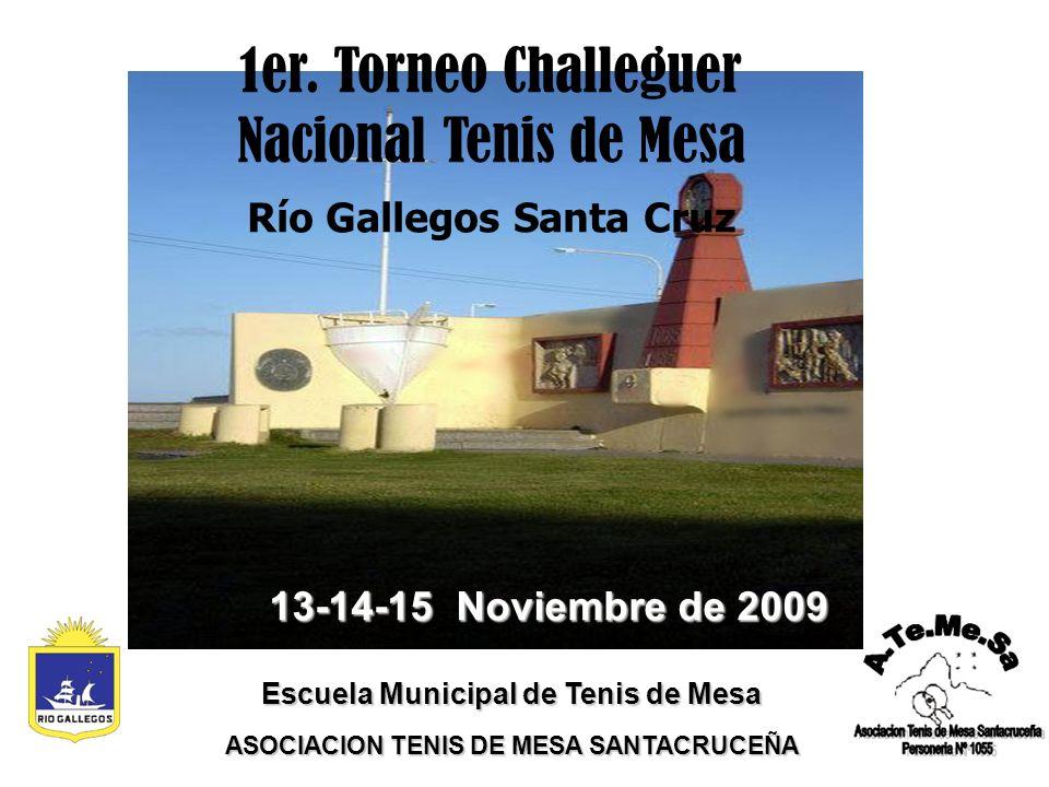 13-14-15 Noviembre de 2009 Escuela Municipal de Tenis de Mesa ASOCIACION TENIS DE MESA SANTACRUCEÑA 1er.