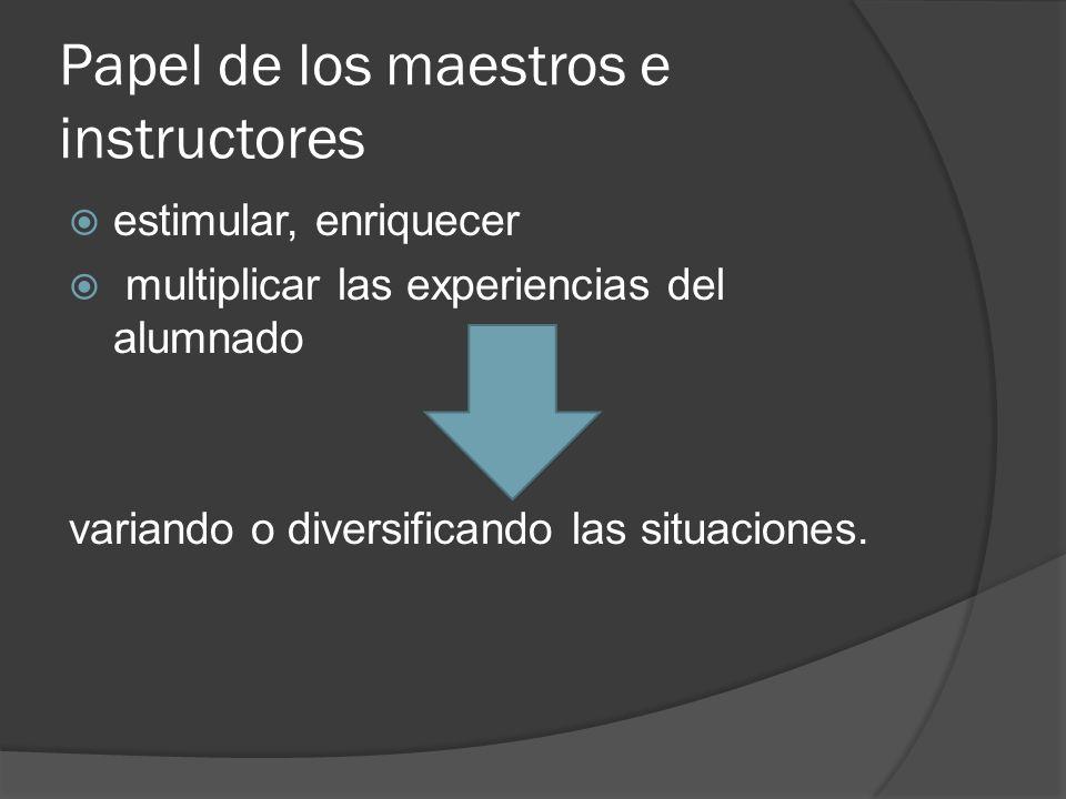 Papel de los maestros e instructores estimular, enriquecer multiplicar las experiencias del alumnado variando o diversificando las situaciones.
