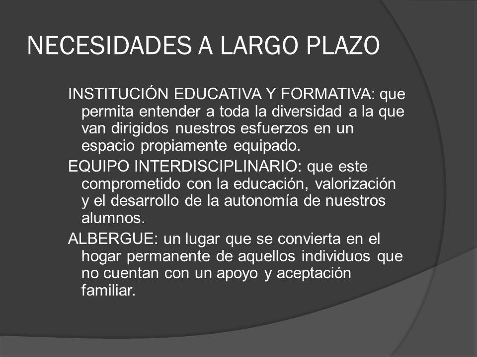 NECESIDADES A LARGO PLAZO INSTITUCIÓN EDUCATIVA Y FORMATIVA: que permita entender a toda la diversidad a la que van dirigidos nuestros esfuerzos en un