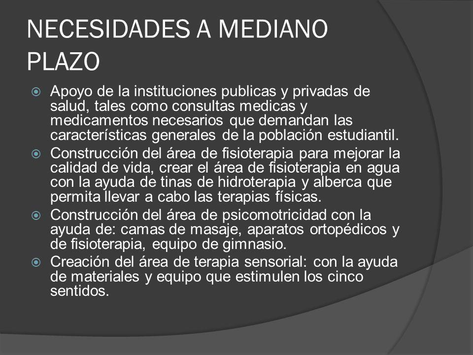 NECESIDADES A MEDIANO PLAZO Apoyo de la instituciones publicas y privadas de salud, tales como consultas medicas y medicamentos necesarios que demanda