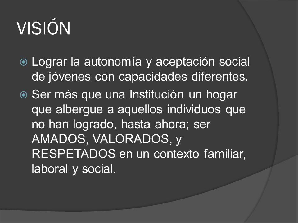 VISIÓN Lograr la autonomía y aceptación social de jóvenes con capacidades diferentes. Ser más que una Institución un hogar que albergue a aquellos ind