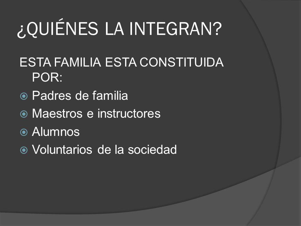 ¿QUIÉNES LA INTEGRAN? ESTA FAMILIA ESTA CONSTITUIDA POR: Padres de familia Maestros e instructores Alumnos Voluntarios de la sociedad