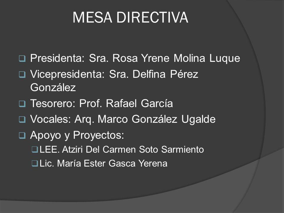MESA DIRECTIVA Presidenta: Sra. Rosa Yrene Molina Luque Vicepresidenta: Sra. Delfina Pérez González Tesorero: Prof. Rafael García Vocales: Arq. Marco
