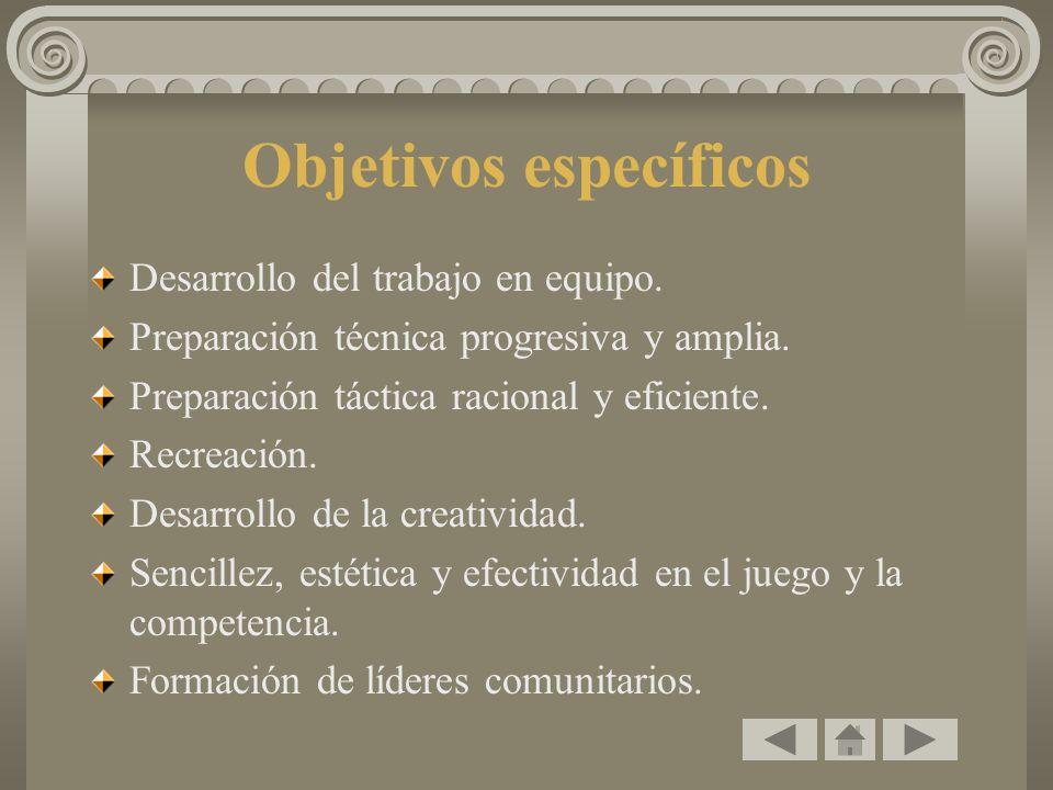 Objetivos específicos Desarrollo del trabajo en equipo. Preparación técnica progresiva y amplia. Preparación táctica racional y eficiente. Recreación.