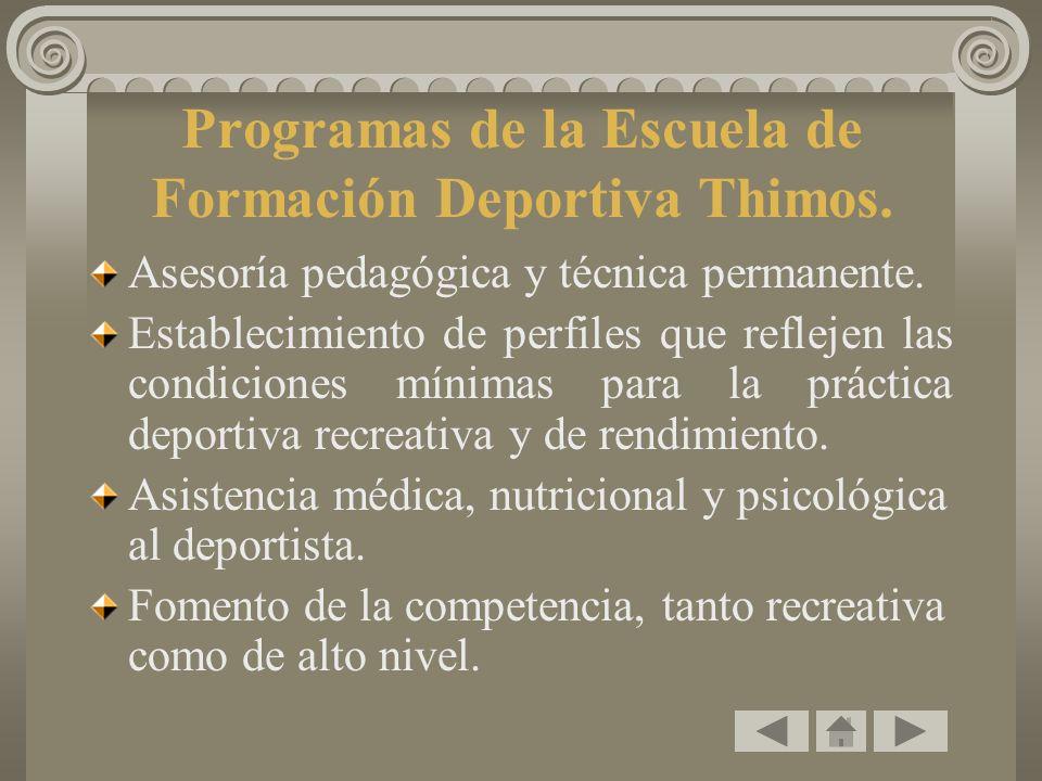 Programas de la Escuela de Formación Deportiva Thimos. Asesoría pedagógica y técnica permanente. Establecimiento de perfiles que reflejen las condicio